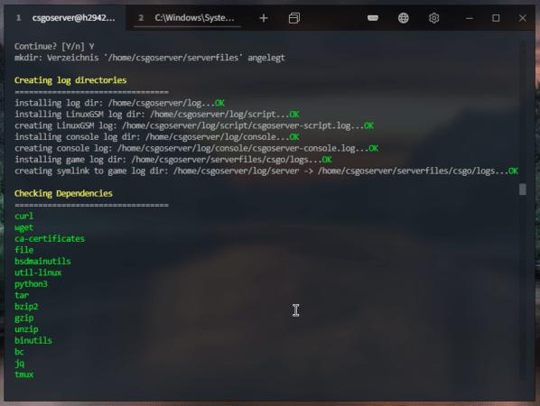 LinuxGSM Installationsvorgang