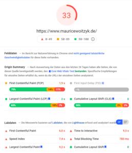 PageSpeed Insights Mobile vor der Optimierung